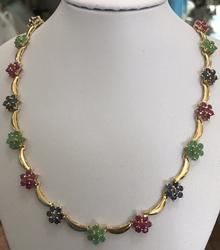 Ruby, Emerald, & Sapphire 14kt Gold Necklace