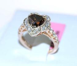 Heat Shaped Vivid Conac & White Diamond Ring, GIA Cert!