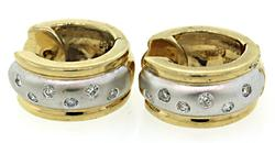 Very Stylish Diamond Huggie Earrings, 14K Two Tone