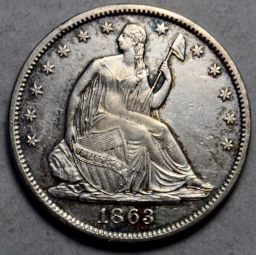 1863 S Seated Half Very Near Unc with nice surfaces