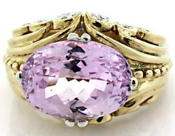 Striking Diamond & 7 CT Kunzite Ring