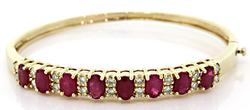 Shimmering Ruby & Diamond Bangle Bracelet
