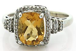 Citrine & Diamond Halo Ring in 10K