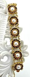 Lovely Vintage Garnet, Pearl, and Gold Bracelet