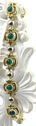 Feminine Cabochon Green Stone 14K Bracelet