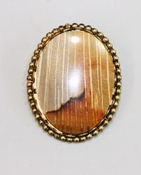 Gold Plated 30x40mm Picture Jasper Pin