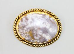 Vintage Gold-plated Pin with Natural Jasper Centerpiece