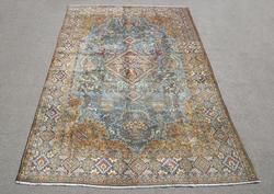Mesmerizing Semi Antique Part Silk Persian Qum 11.8x7.5