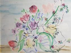 ORIGINAL WATER COLOR ON PAPER HAND SIGNED BY ARTIST