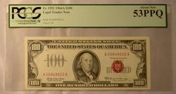 Red Seal Scarce Kennedy $100  PCGS About new 53 PPQ U S Note