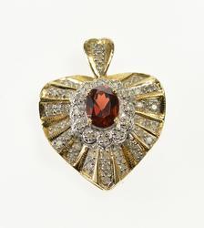 Lovely 2ctw Garnet Heart Pendant Encrusted with Diamond