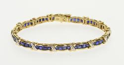 5.74 Ctw Sapphire* Encrusted Diamond X Tennis Bracelet