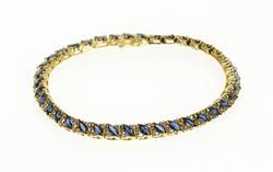8.3cttw Marquise Sapphires & Diamond Bracelet, 14k