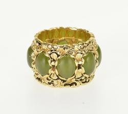 14k Yellow Gold Nephrite Jade Band Ring