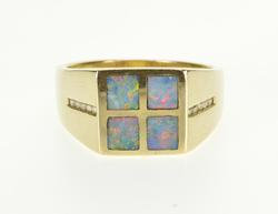 Attractive Black Opal Square Inlay & Diamond Ring, 14K