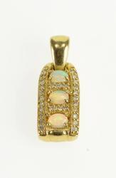 14K Gold Opal & Diamond Pendant