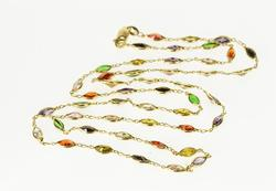 Rainbow Bezel Link Chain Necklace, 14kt