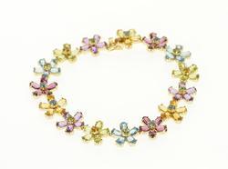 Encrusted Floral Cluster Fancy Bracelet