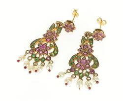 2.50 Ctw Ruby Emerald Seed Pearl Victorian Dangle Earrings