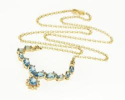 Swiss Blue Topaz Marquise Diamond Chain Necklace