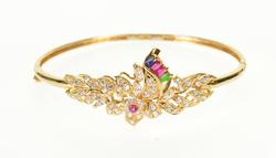 Unique 18kt Yellow Gold Indian Gemstone Bangle Bracelet