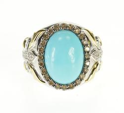 Turquoise & Diamond Halo Cross Ring. Lovely