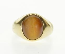 Yellow Gold Oval Tiger's Eye Cabochon Men's Ring