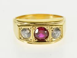 Gents Retro 14kt Gold Ring with Gemstone & Diamonds