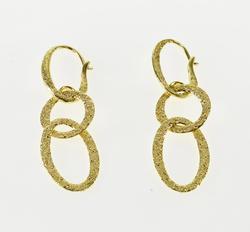 Elegant Tiered Oval Design 18kt Gold Dangle Earrings