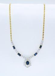 Elegant 1.91CTW Diamond and Blue Sapphire Necklace
