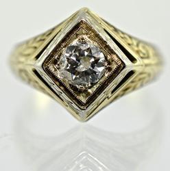 Vintage Man's 14K Solitaire Diamond Ring