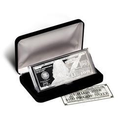 Silver 4 Ounce Bar 2018 $100 Bill .999 Fine w/Box & COA