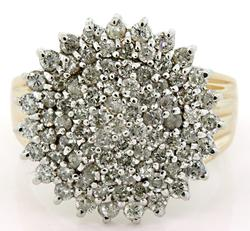 Round and Prong Set Diamond Cluster Ring, 14K