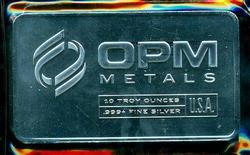 Pure .999 Fine Silver 10 Troy Oz OPM Bar in plastic