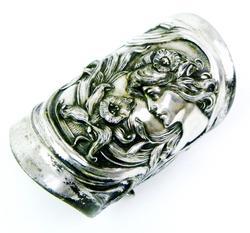 Art Nouveau Repousse Extra Wide Cuff Bracelet