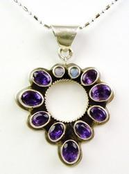 Colorful Amethyst & Opal Sterling Pendant & Chain