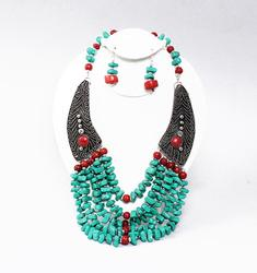 Beautiful ethnic crafted Multi Stone Necklace Set