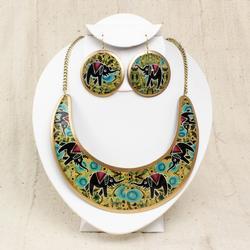 Fantastic Ethnic Hanmdmade Metal Necklace & Earrings Set
