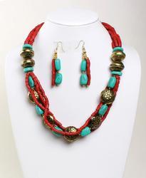 Attractive Ethnic Tribal Handmade Beaded Necklace Set