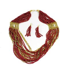 Fashionable Bijoux Beaded Handmade Necklace & Earring