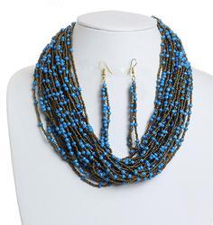 Splendid Blue & Gold tone Beaded Necklace & Earrings