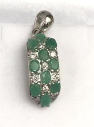 Sterling Silver Emerald and White Stone Pendant