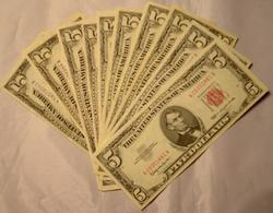 10 Red and Blue Seal  Near Unc$5 Notes Silver Certs and US Notes