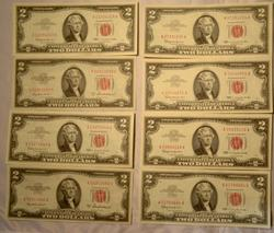 8 Choice Near  Uncirculated 1953 A & 1963 Red Seal $2 US Notes
