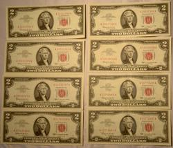 8 Assorted Near  Uncirculated 1963 Series Red Seal $2 US Notes