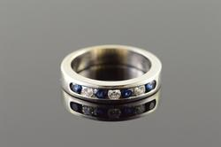 Sapphire & Diamond Wedding Band Ring