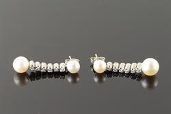 Gold Pearl & Diamond Dangle Earrings