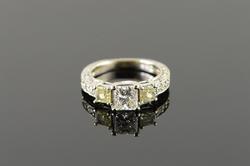 Valuable White & Yellow Diamond Engagement Ring, 14K