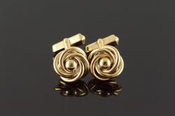 Gents 10k Yellow Gold Vintage Swirl Cufflinks