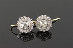 Vintage 14kt Gold 1+ctw Diamond Earrings